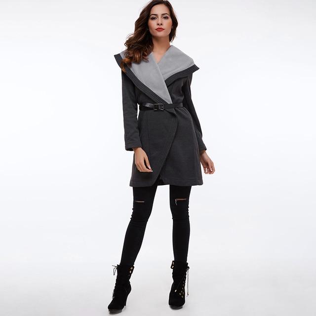 Clocolor Casual Long Coat Fashion Turn Down Collar Asymmetrical Office Ladies Elegant Winter Clothing Outwear Women Overcoat 1