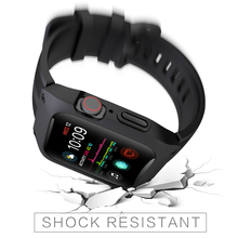 Laforuta Sport Case Band for Apple Watch 44mm Bracelet Silicone Sports Watchband with Protective iWatch Series 4 Bands