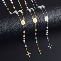 46971367c RIR Women Stainless Steel Jesus Christ Cross Bead Chain Catholicism Pendant  Rosary 3 color Pearl Long