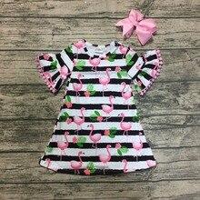 c50f034b975 Verano bebé niñas vestido manga corta rosa flamingo negro raya floral  pom-pom ropa de los niños boutique encuentro arco de la ro.