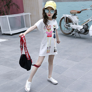Image 3 - Children Clothing T Shirt Girls Summer 2019 Toddler Girl Shirts Cute Cotton Clothes for Big Kids Teenage Cartoon Long Tee Coats
