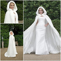 2016 Fall Winter White fur cape Wedding Cloak Cape Hooded with Fur Trim Long fur bolero Bridal Jacket wedding accessories