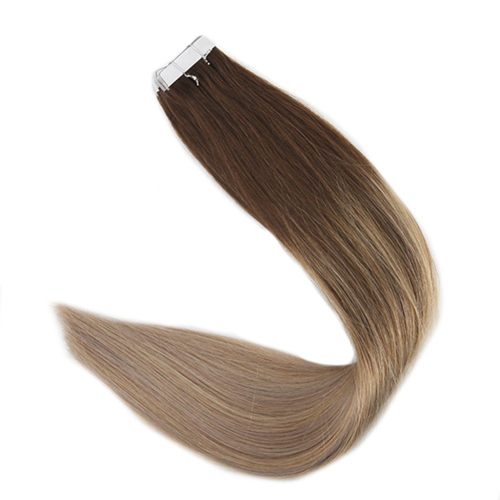 Full Shine 100 Grams Human Hair Extensions #4 Dark Brown Fading To #18 Ash Blonde And 27 Honey Blonde Remy Adhesive Tape In Hair