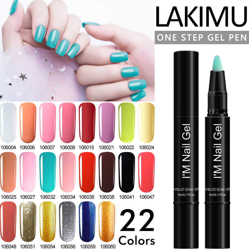 LAKIMU 2019 New Out 3in1 One Step Gel Nail Polish Pen Soak Off LED UV Newest Color PolyGel Gel Varnishes Long Lasting Nails Art