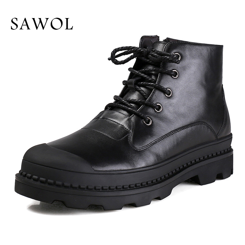 Sawol Brand Men Winter Shoes Natural Wool Genuine Leather Men Ankle Boots Warm Men Winter Shoes Winter Boots High Quality men winter super warm ankle boots handmade genuine leather high quality brand plush snow shoes casual russian style boots men