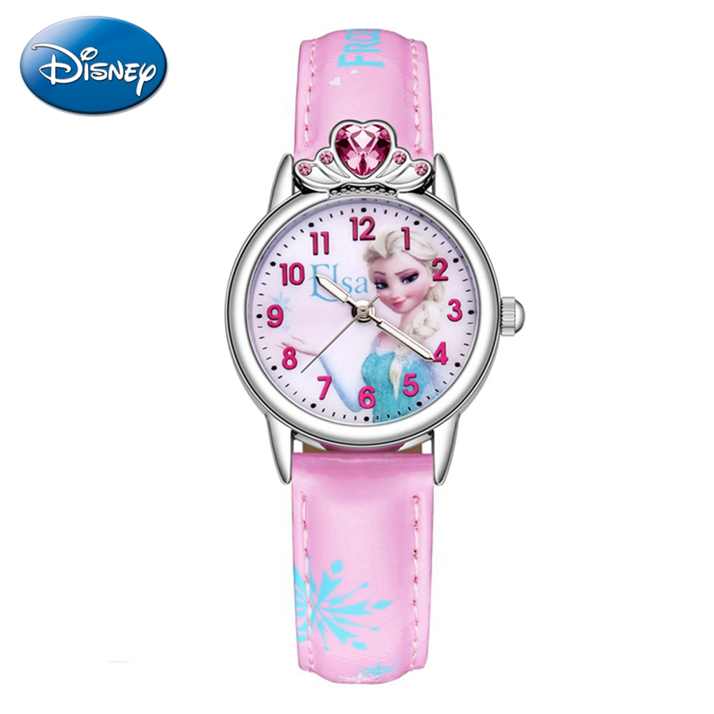 Frozen Elsa Princess Cuties Girls Leather Quartz Pink Blue Rhinestone Fashion Simple Watches Disney Children Kid Student Clocks