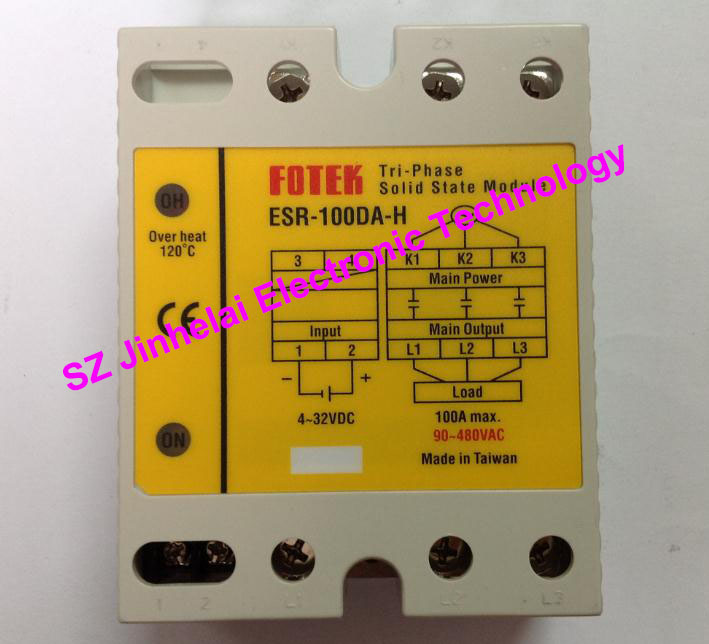 New and original FOTEK 3-Phase Solid state module ESR-100DA-H 100A esr 60da new and original fotek ssr solid state module 3 phase solid state relay