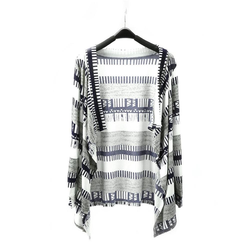 Moda Patchwork camiseta básicas abrigos Irregular de manga larga Cardigan suéter de punto de mujer Otoño Invierno Outwear camiseta