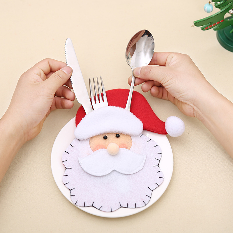 Hot Sale 6Pcs Santa Claus Cutlery set Christmas Decorations Christmas tableware bag Dinner Table Decor Home Decoration