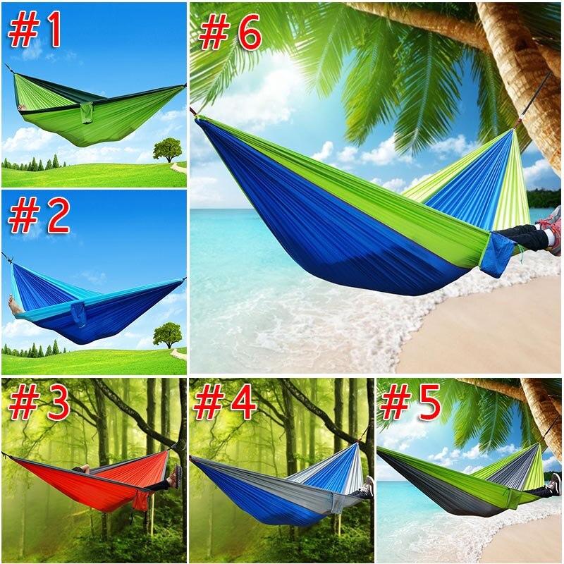 270x140 cm hamaca al aire libre jardín deportes inicio viajes camping swing nylon cuelgue cama doble persona Hamacas j2y