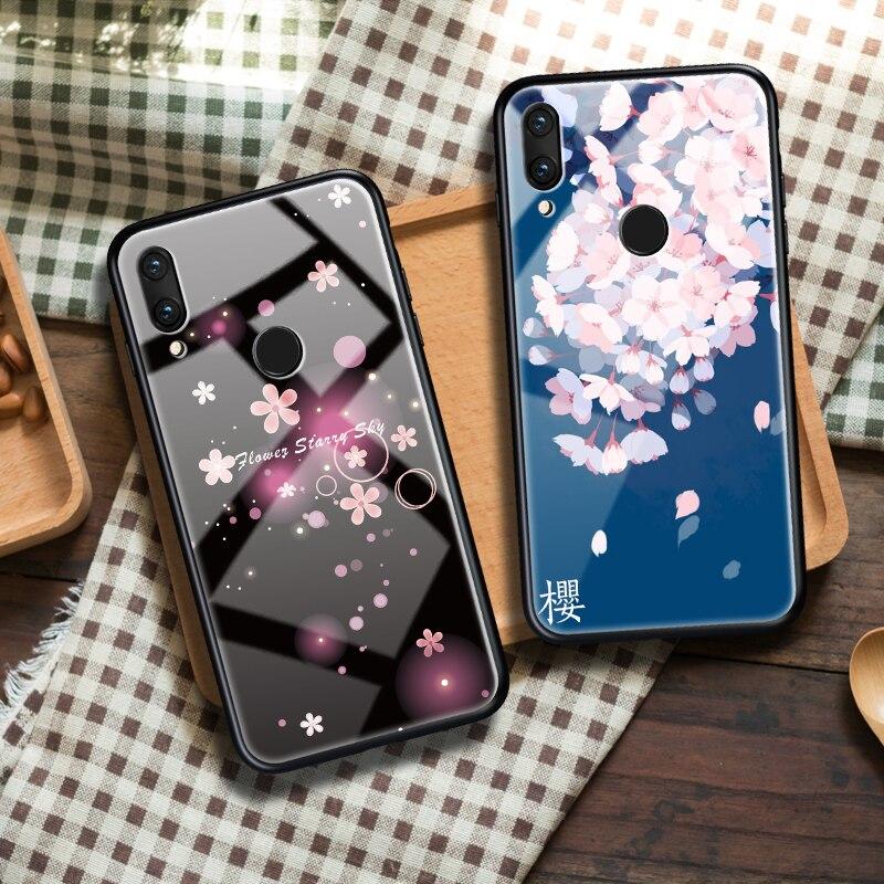 Tempered Glass Phone Case For Xiaomi Redmi Note 7 5 Pro Redmi 5 5A 6 6A Pro A2 Lite 7 5 Plus Luxury Cherry Blossoms Back Cover