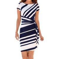 Elegant Stripped Short Sleeve Knee Length Dress
