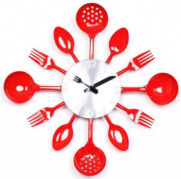 Fashion Modern Design Kitchen Wall Clock Spoon And Fork Wall Clocks Metal  Art Wall Watch Home