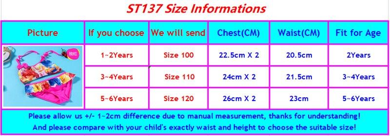 ST137 girls swimwear-size chart