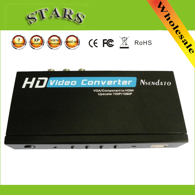 HD Video Converter VGA/YPbPr to HDMI Upscaler 720P/1080P Audio/VGA input converter with Power Adapter,wholesale Free Shipping