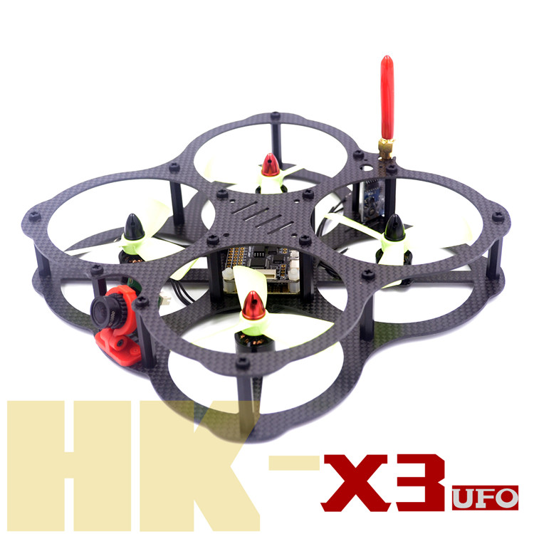 DIY FPV QAV-HK X3 UFO 130 pure carbon fiber frame mini racing quadcopter drone for 3045 3030 3 / 4 blade propeller new qav r 220 frame quadcopter pure carbon frame 4 2 2mm d2204 2300kv cc3d naze32 rev6 emax bl12a esc for diy fpv mini drone