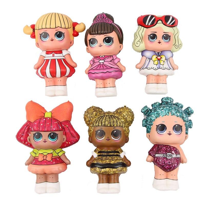 Brinquedos squishy do plutônio impressão a cores completas lento rebote simulação dos desenhos animados menina boneca engraçado prank stress squeeze brinquedos das crianças