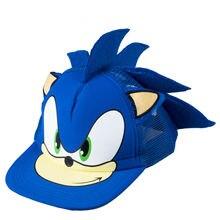 Милый мальчик Соник Ежик мультфильм Молодежная Регулируемая бейсбольная кепка синий для мальчиков горячая распродажа