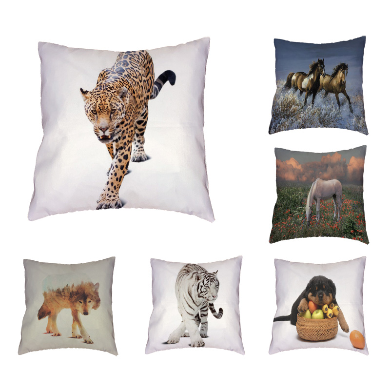 Domineering Animals Cushion Cover Wolf Horse Throw Pillow