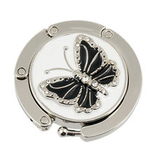 Metal RhInestone Glittery Black Butterfly Folding Handbag Purse Table Hook Hanger BAG Holder