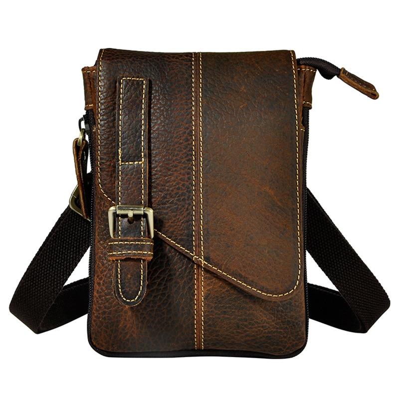 Нов най-качествен истински естествена кожа мъже реколта кафяв малък пратеник чанта пакет талията пакет крак чанта