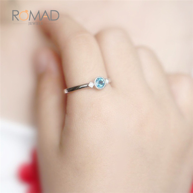 19cdfeb912de De plata de oro rosa Vintage Color azul de cristal de piedra anillos de  Zirconia cúbica anillo regalo para mujer