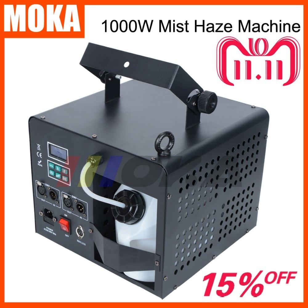 цена на New 1000w Mist Haze Machine Stage Smoke Fog Machine DJ Effect Equipment DMX remote control lcd display fogger smoke machine