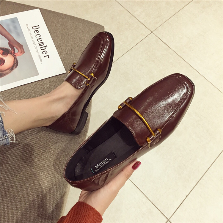 Fashion shoes for women 2018 new soft bottom British shoes woman square head single shoes female thick with flat shoes loafers 68