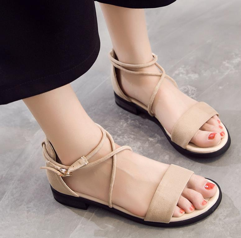 2018 summer new strap flat with ladies sandals open toe flat simple women's shoes 6