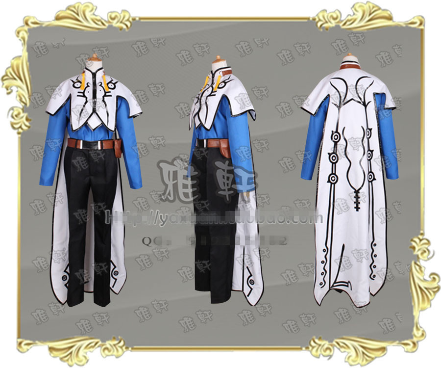 Aselia the Tales of Zestiria X Mikleo Cosplay Costume Outfit Cape Robe Belt Suit
