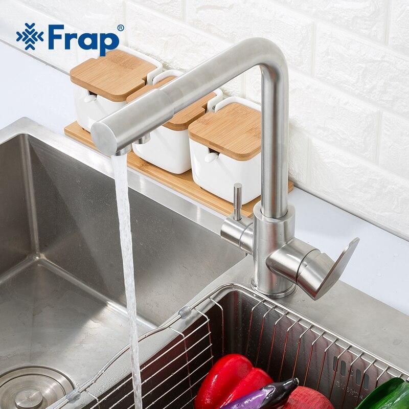 Frap классический кухонный кран с фильтрованной водой 304, очиститель воды из нержавеющей стали, двойная ручка, питьевой кран, холодная и горячая вода F4348 - 2