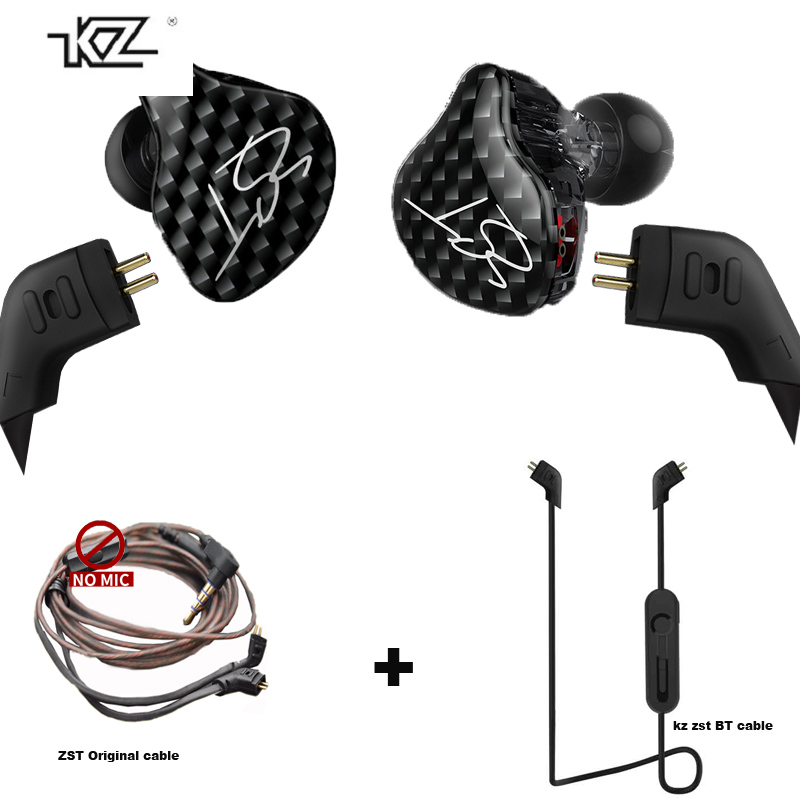 KZ ZST Hybrid Earphones Bluetooth+Wired 2 cables Armature+Dynamic Drive HI-FI Bass in ear earphone Mic Replacement mmcx Cable fashion professional in ear earphones light blue black 3 5mm plug 120cm cable