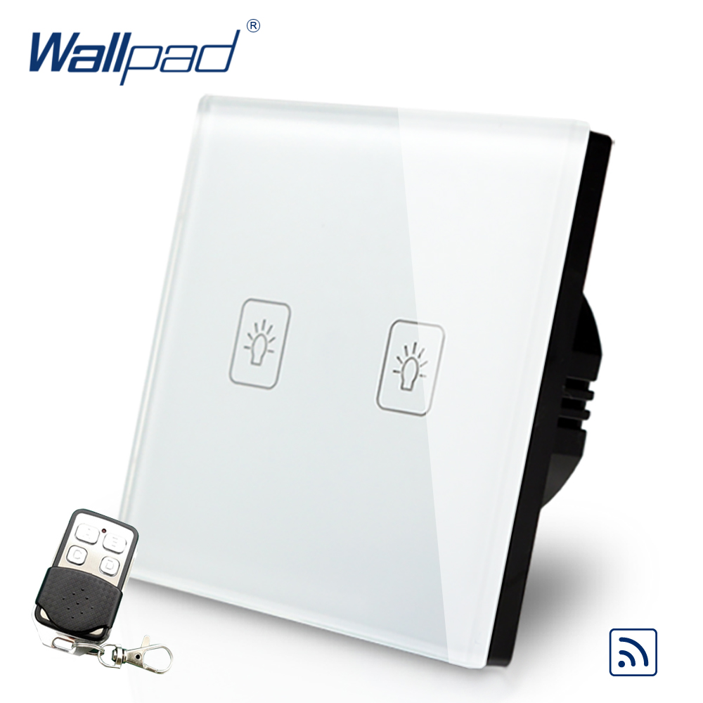 Wallpad EU 2 Gang 2 Way 3 Way Intermediate Remote Control Touch Switch Crystal Glass Switch With Remote Controller black remote control light switch crystal glass switch wallpad luxury us au 3 gang 2 way remote electric switch with controller