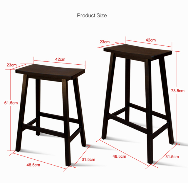 Us 68 0 2pcs 29 Solid Pine Wood Saddle Seat Bar Stool Black In Chairs From Furniture On Aliexpress Alibaba Group