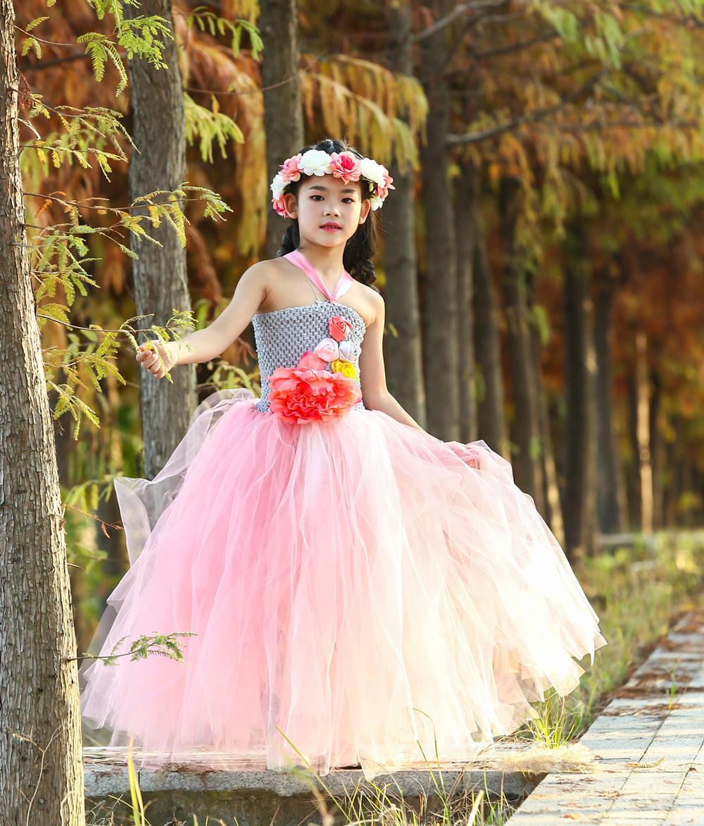 New Fairy Girls Mesh Tutu Dress Wreath Princess Flower Girl Party Dresses Children Kids Birthday Halloween Unicorn Costume 1-14
