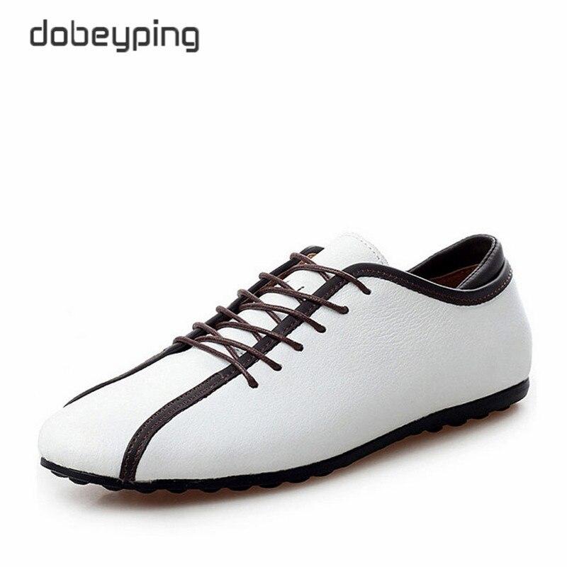 Nye Mænds Casual Sko Ægte Læder Mænd Lejligheder Lace Up Man Loafers Bløde Mandlige Forretningsfodtøj Blandede Farve Bådesko