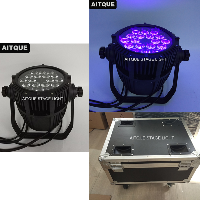 4pcs Stage water effect light 18pcs 18w outdoor rgbwa uv 6 in 1 led stage par 64 light 18x18w par waterproof led uv flycase