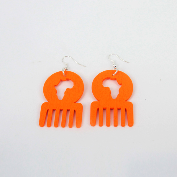 2014 New Arrival Hot Sale Orange Color African Map Afro Comb Dangle Wooden Earrings for Women Jewelry 6pairs/lot With Hook