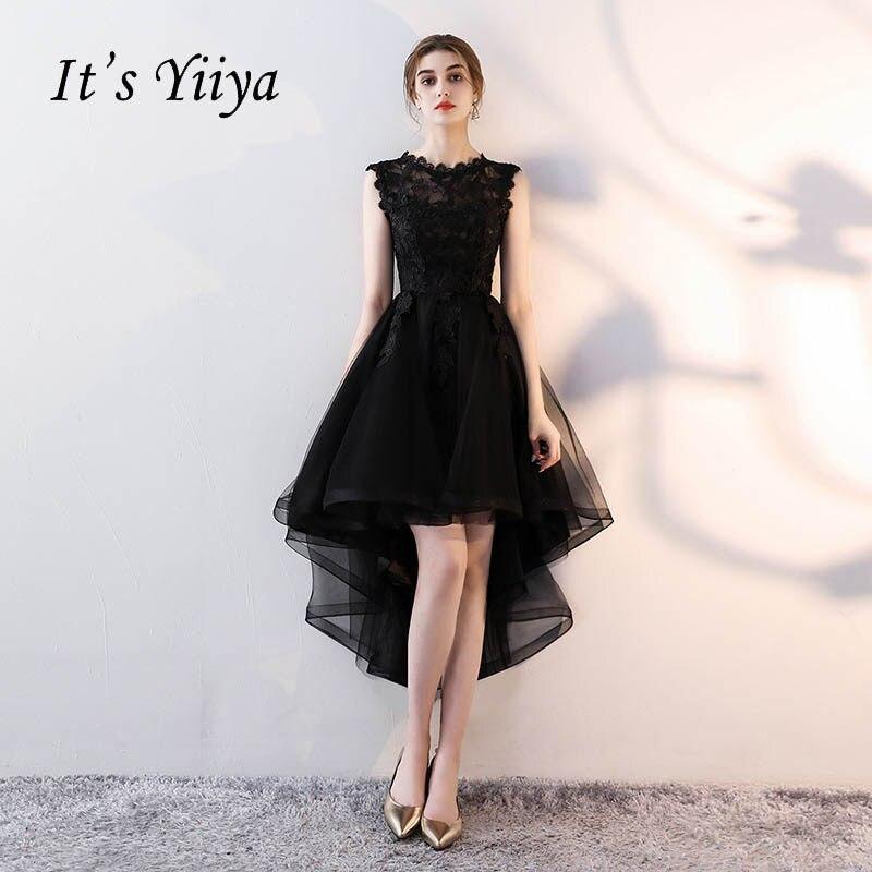 c18b546bd7a It s YiiYa O-Neck Sleeveless Asymmetrical Dinner Party Formal Dresses  Embroidery Tea-Length Little