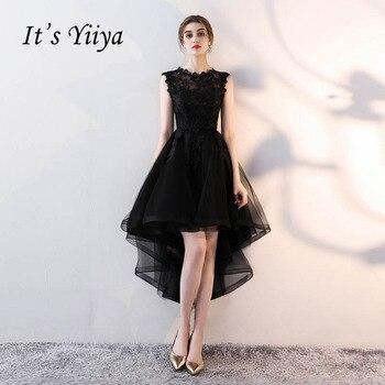 3d64b8192 Es YiiYa de cuello sin mangas asimétrica cena fiesta Formal de bordado de  vestidos de longitud de té negro vestido de baile de graduación LX094