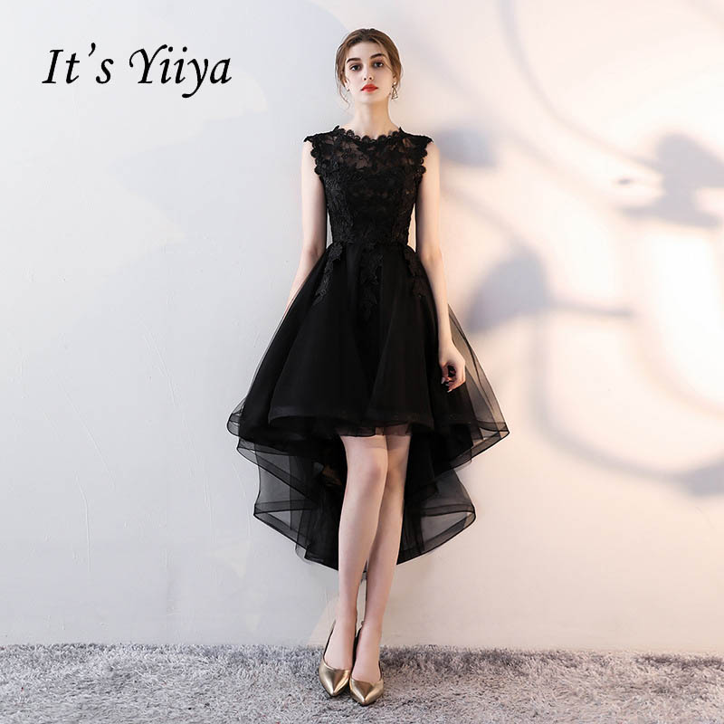 It's YiiYa O-Neck Sleeveless Asymmetrical Dinner Party Formal   Dresses   Embroidery Tea-Length Little Black   Prom     Dress   LX094