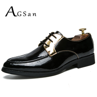 AGSan Men Oxfords Shoes Lace Up Wedding Shoes Pointed Toe Dress Shoes Silver Gold Fashion Mens