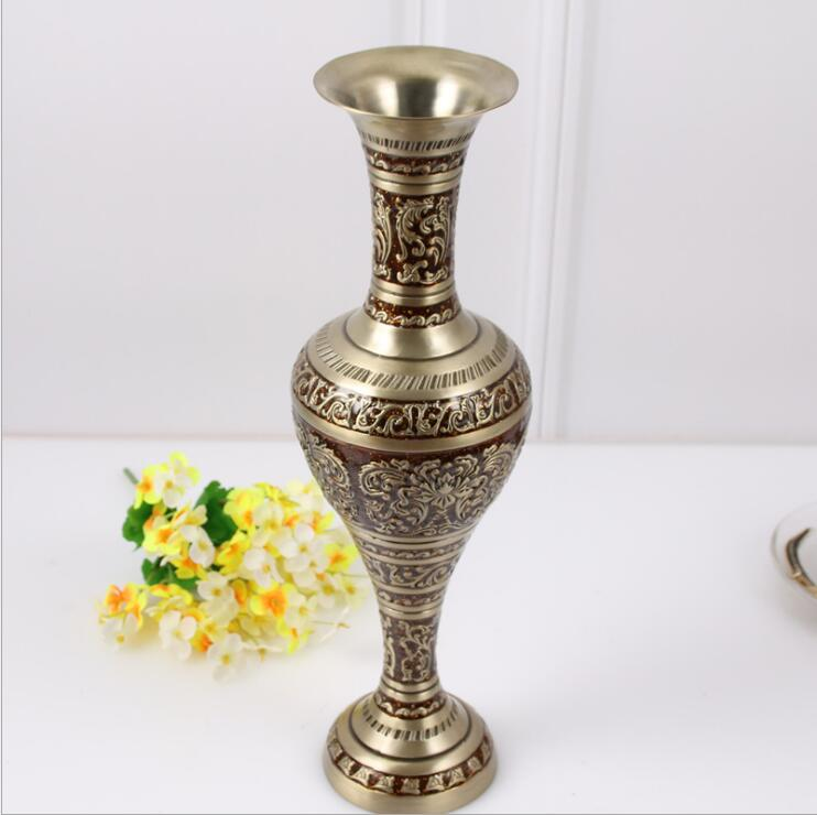 H37CM bronze red large size vase Vintage vase alloy metal flowers vase table vase for home decoration HP015