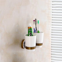 MADICA Double Cup Holders For Shower Room Embedded Toothbrush Glass Tumbler Vintage Brass Wall 19.5*11cm
