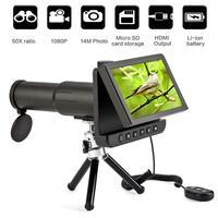 5.0 inç LCD Dijital Monoküler Dürbün Kamera 50x1080 P Video Fotoğraf Kaydedici Teleskop Izlerken Ücretsiz 8GB TF Kart