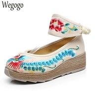 Wegogo Vintage Women Shoes Ankle Wrap Canvas Pumps Embroidery Platforms Phoenix Floral Travel Cotton Shoes Woman