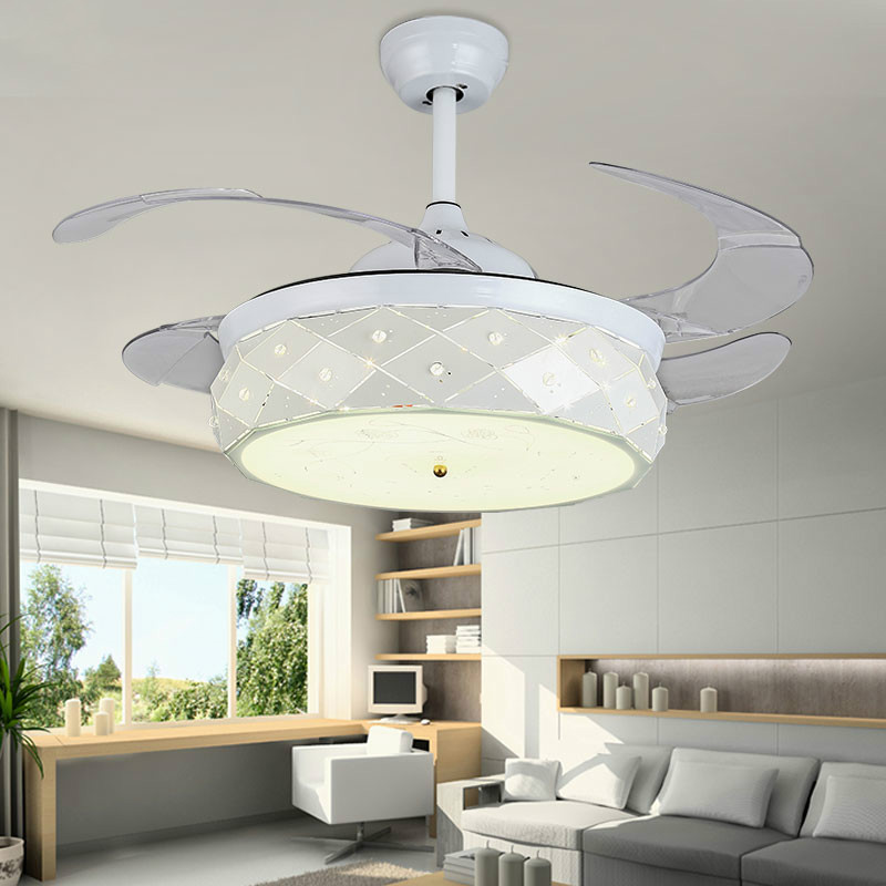 Modern Invisible Abs Leaf Led Ceiling Fans Dining Room White Metal Led Ceiling Fan Bedroom Dimmable Ceiling Fan Lights Fixtures New Varieties Are Introduced One After Another Ceiling Lights & Fans