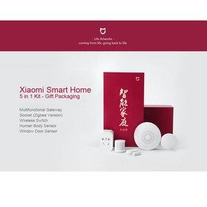 Image 2 - Xiaomi MIJIA 5 in 1 Smart Home Kit Bundle ZigBee Socket Gateway Hub Human Body Window Door Sensor Wireless Switch Mini