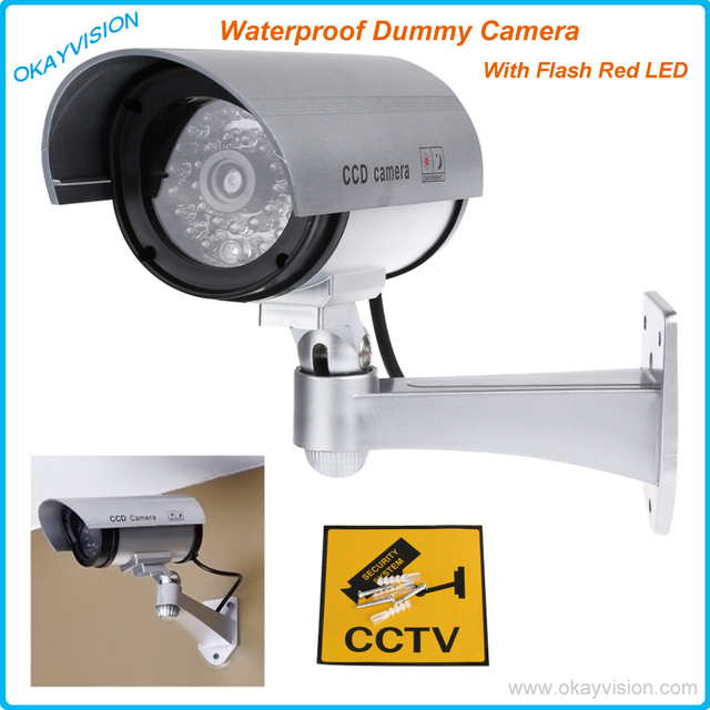 Security Camera Fake Camera Dummy Emulational Camera Cctv Camera Bullet Waterproof Outdoor Use For Home Security With Flash LED