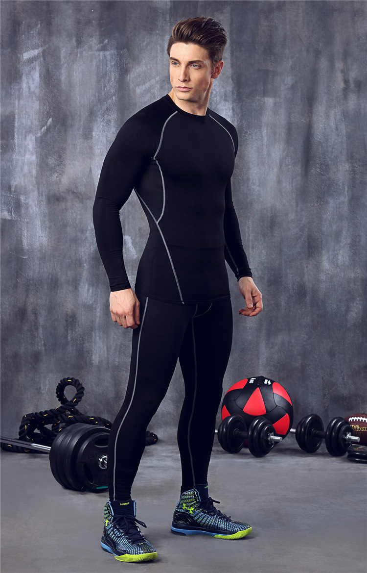 Gym Clothes Men 39 s Basketball Running Clothes Stretch Speed Dry Clothes Sports Tights Long Sleeved Trousers Suits in Slimming Product from Beauty amp Health